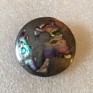 Vintage abalone 925 Mexico brooch pendent